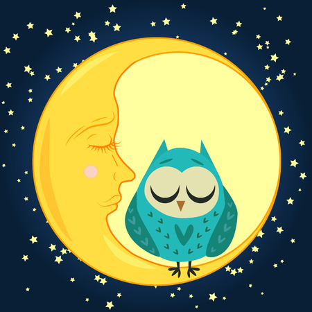 cute cartoon sleeping owl in hearts with closed eyes sits on a drowsy crescent among the stars Illustration