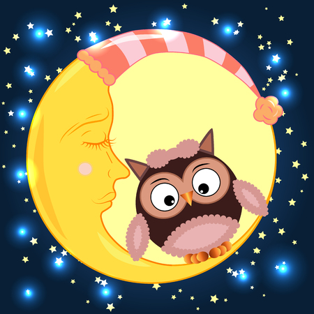 Cute cartoon owl sitting on a round dormant crescent moon in the night sky with stars Illustration