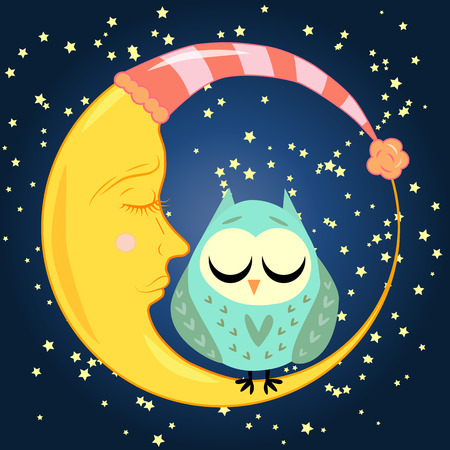 Cute cartoon sleeping owl in hearts with closed eyes sits on a drowsy crescent among the stars