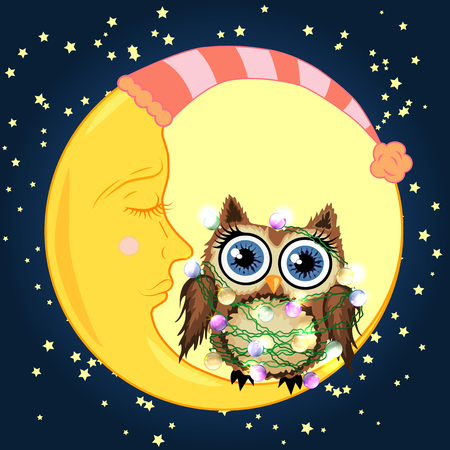 Cute cartoon brown owl tangled in garlands sitting on the moon.