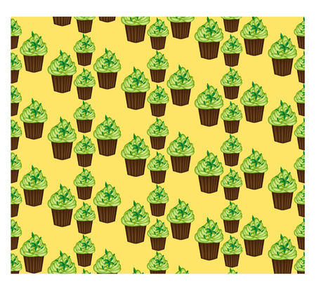 Seamless pattern of appetizing cupcakes with green cream and mint Illustration