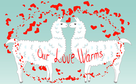 Two lovers, kissing llamas surrounded by hearts. Love is in the air. Inscription Our love warms, postcard, Valentines Day Illustration