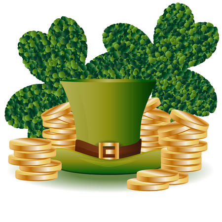 St. Patricks card with two green leaf clover consisting of circles, a green hat and piles of gold coins Illustration