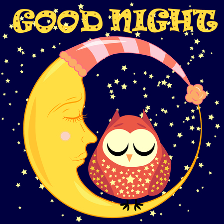 Good night Postcard with a dormant crescent, a cute cartoon owl and text. Ilustrace