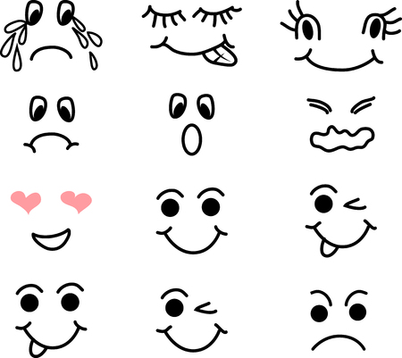 Cartoon faces line icons set isolated vector illustration on white background