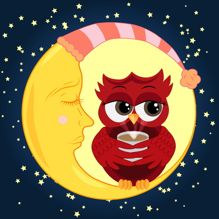 Cute cartoon owl coquettish red with a cup of coffee sitting dormant on the crescent against the night sky with stars.