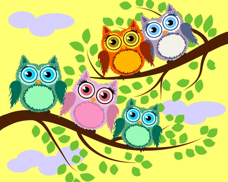 Bright cute cartoon owls sit on the branches of fantastic trees. Illustration
