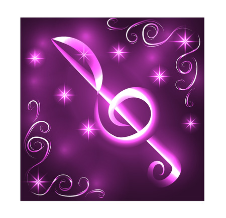 Elegant luminous contour of the treble clef on a dark illustration.