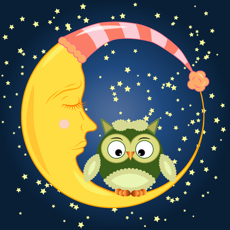 Cute cartoon owl sitting on a round dormant crescent moon in the night sky with stars Ilustrace
