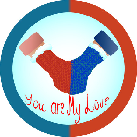 Concept of love and relationship is one mittens for two. Red and blue mittens for two as a symbol of hetero-relationships, sympathy for men and women. Inscription You are my love.