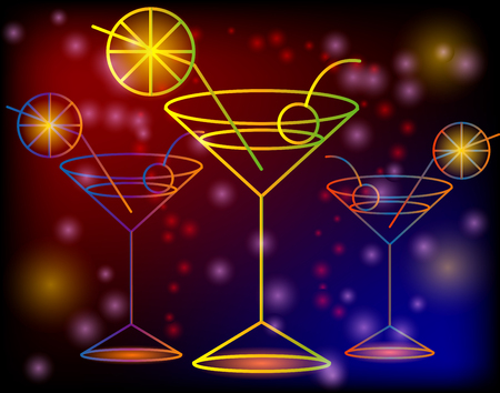 Golden outline of glasses with a cocktail on a dark background with stars and lights, disco, club, neon glow
