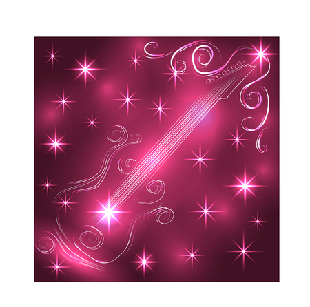 Elegant golden guitar outline, glowing on a dark background, neon effect, music, notes