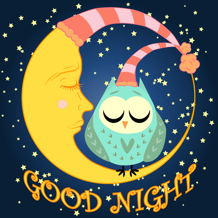 Good night, Postcard with a dormant crescent, a cute cartoon owl and text.
