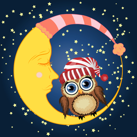 A lovely cartoon brown owl in a red hat sits on a drowsy crescent moon against the background of the night sky with stars.