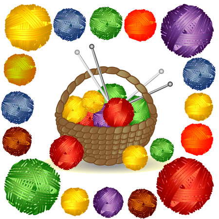 Basket with multi-colored tangles in a square Frame of multi-colored balls of wool Illustration