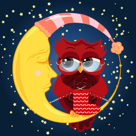 Pretty cartoon, coquettish owl wearing glasses knits a sock on spokes and sits on a dozing crescent against the background of the night sky with stars Illustration
