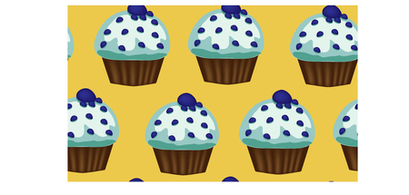 Seamless pattern of appetizing cupcakes with blue cream Stock Vector - 92218134