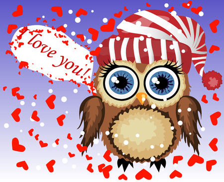Lovely cartoon brown owl surrounded by hearts says I love you. Love in the air, Saint Valentine, postcard Illustration