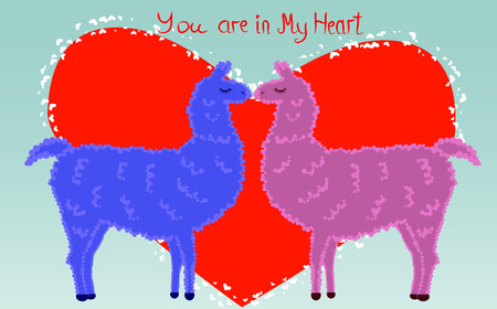 Two lovers, kissing llamas surrounded by hearts. Love is in the air. Inscription you are in my heart, postcard, Valentines day Illustration