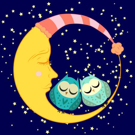 búho dormido de dibujos animados lindo en círculos con los ojos cerrados se sienta en una media luna adormilada entre las estrellas