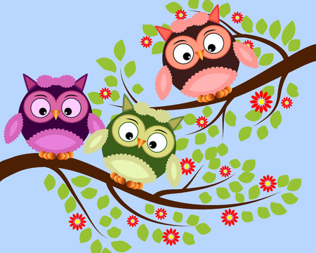 Bright cute cartoon owls sit on the flowering branches of fantastic trees. Illustration