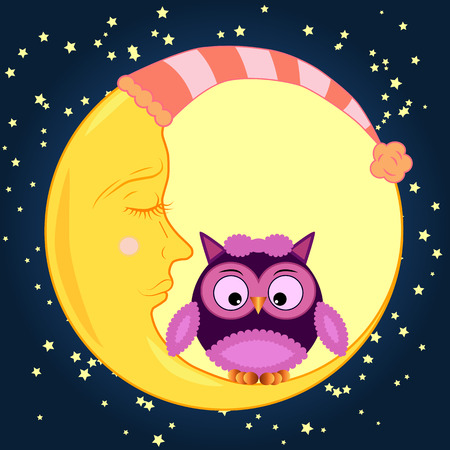 Cute cartoon owl sitting on a round dormant crescent moon in the night sky with stars.