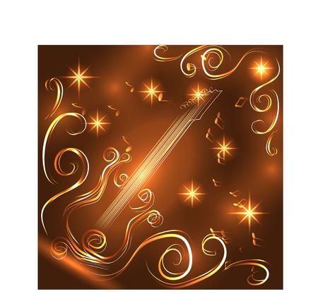Elegant golden guitar outline, glowing on a dark illustration.