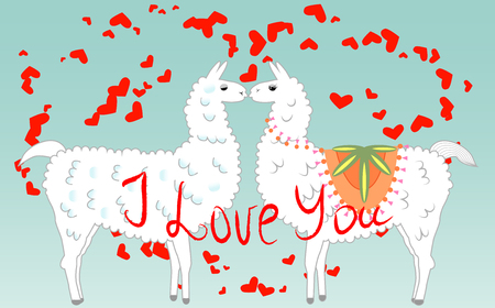Two lovers, kissing llamas surrounded by hearts. Love is in the air. Inscription I love you, postcard, Valentines day