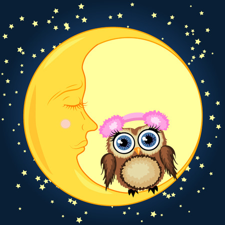 A sweet cartoon brown owl in soft headphones sits on a drowsy crescent moon against a background of a night sky with stars Illustration