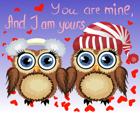 Two loving owls, a pair, touch their wings, on a purple background. Concept Two hearts. The inscription You are mine, and I am yours.