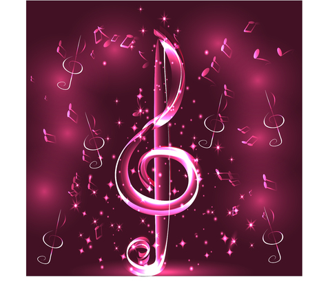 Elegant luminous contour of the treble clef on a dark background, neon-effect, music, musical note. Çizim