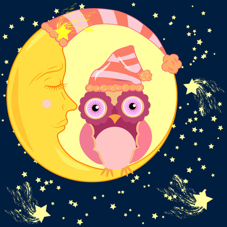Cute cartoon pink owl in the bell for sleep sitting dormant on the crescent against the night sky with stars.