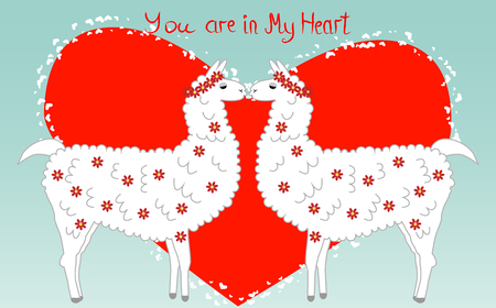 Two lovers, kissing llamas surrounded by hearts. Love is in the air. Inscription You in my heart, postcard, Valentines day.