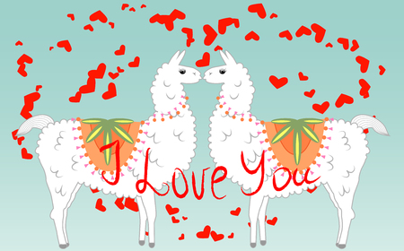 Two lovers, kissing llamas surrounded by hearts. Love is in the air. Inscription I love you, postcard, Valentines day.