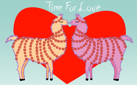 Two lovers, kissing llamas surrounded by hearts. Love is in the air. The inscription Time for love, postcard, Valentine's day. Vectores