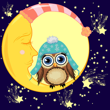 A sweet cartoon brown owl in a blue cap sits on a dozing crescent against the background of a night sky with stars. Illustration
