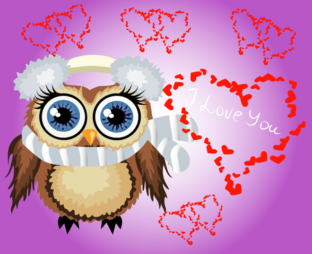 Lovely cartoon brown owl surrounded by hearts. Love in the air, Saint Valentine, postcard. Illustration