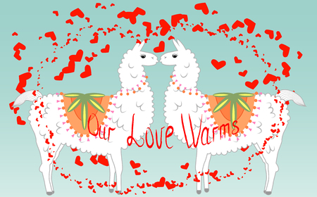 Two lovers, kissing llamas surrounded by hearts. Love is in the air. Inscription Our love warms, postcard, Valentine's Day Ilustrace