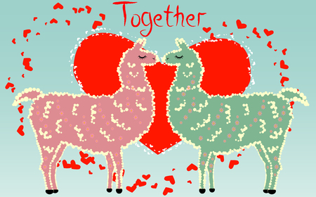 Two lovers kissing llamas surrounded by hearts. Love is in the air. Inscription Together in surrounded by lesser hearts, postcard, Valentines day. Illustration