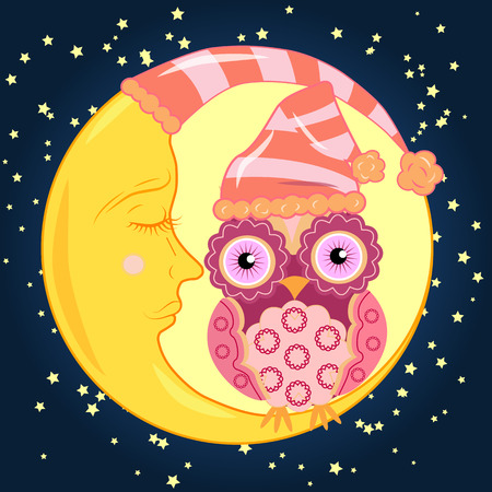 Sweet cartoon pink owl with a round pattern on the wings and a little body in the dome for sitting on a dozing crescent against the background of the night sky with the stars...