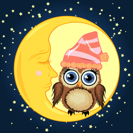 A cute cartoon brown owl in a sleeping cap sits on a dormant crescent moon against a night sky with stars