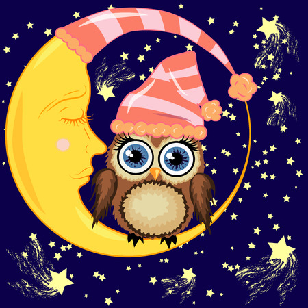 A cute cartoon brown owl in a sleeping cap sits on a dormant crescent moon against a night sky with stars.