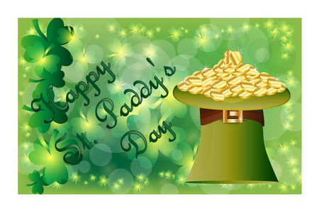 Saint Patricks Day greeting card with with a green hat full of gold coins, sparkled green clover leaves and text. Inscription - Happy St. Paddys Day Illustration