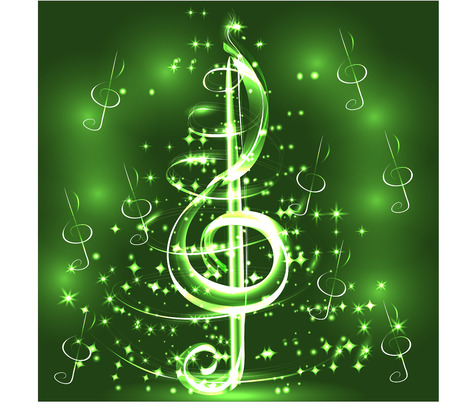 Elegant luminous contour of the treble clef on a dark background, neon-effect, music, musical note