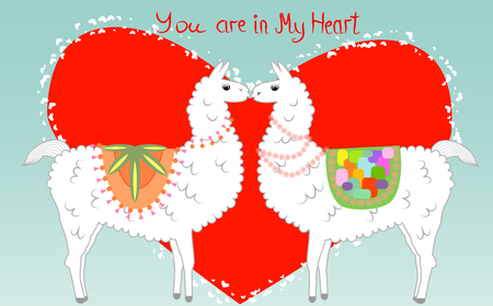 Two lovers, kissing llamas surrounded by hearts. Love is in the air. Inscription You in my heart, postcard, Valentines day