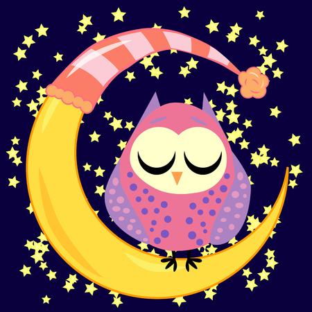 Cute cartoon sleeping owl in circles with closed eyes sits on a drowsy crescent among the stars Çizim