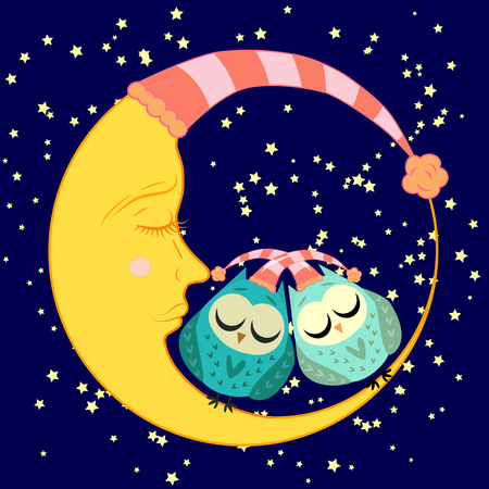 cute cartoon sleeping owl in circles with closed eyes sits on a drowsy crescent among the stars