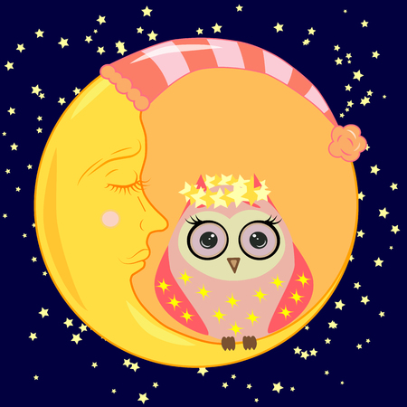 Cute cartoon sleeping owl in circles with closed eyes sits on a drowsy crescent among the stars. Illustration