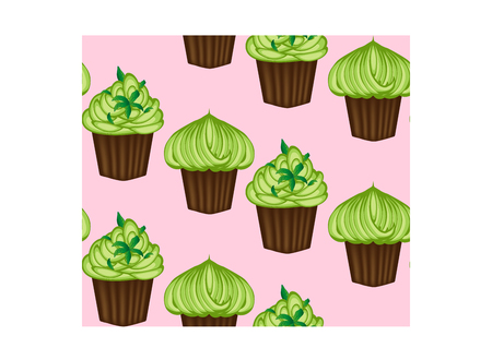 Seamless pattern of appetizing cupcakes with green cream.
