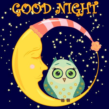 Boa noite. Cartão com um crescente crescente dorante, uma coruja e um texto bonitos dos desenhos animados.